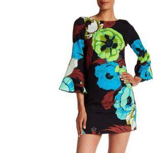 Tracy Reese 'T' Flounce Sleeve Floral Silk Dress